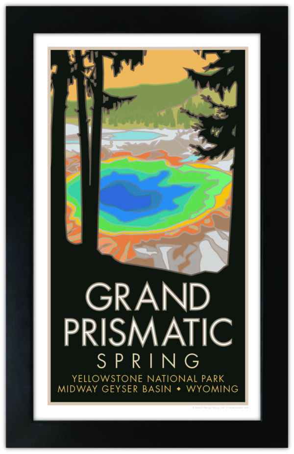 Yellowstone National Park Grand Prismatic Spring framed poster